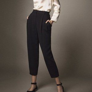 Massimo Dutti Pleated High Rise Tapered Ankle Pant